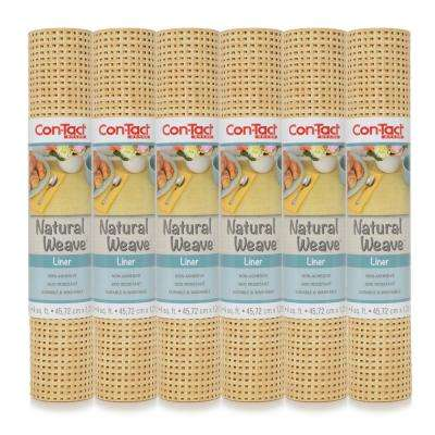 Natural Weave 12 in. x 4 ft. Faux Woven Lattice Natural Non-Adhesive Drawer and Shelf Liner (6-Rolls)