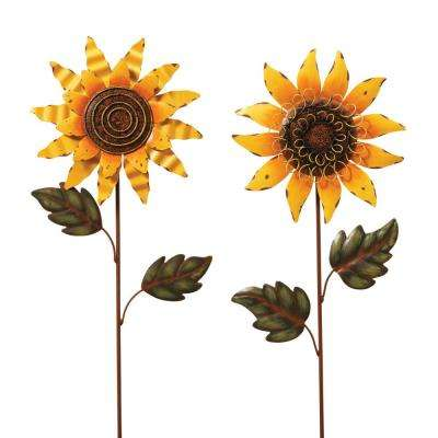 30 in. H Sunflower Yard Stakes (Set of 2)