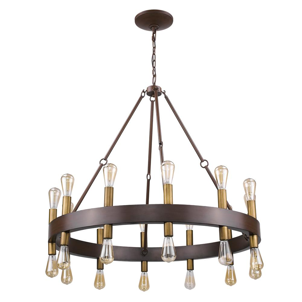 Acclaim lighting 24 light wood finish wagon wheel chandelier