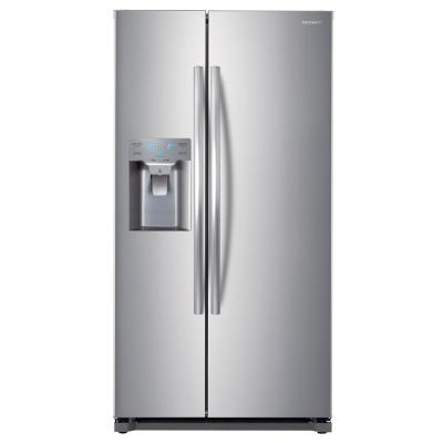 20 cu. ft. Built-in Dispenser Side by Side Refrigerator in Stainless Steel Counter Depth
