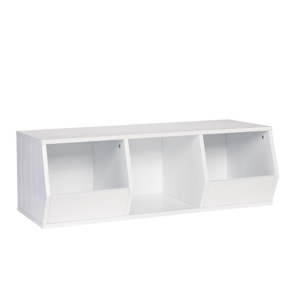 RiverRidge Kids 36 in. x 12 in. Stackable 2-Veggie Bins and 1-Cube Storage Organizer in White
