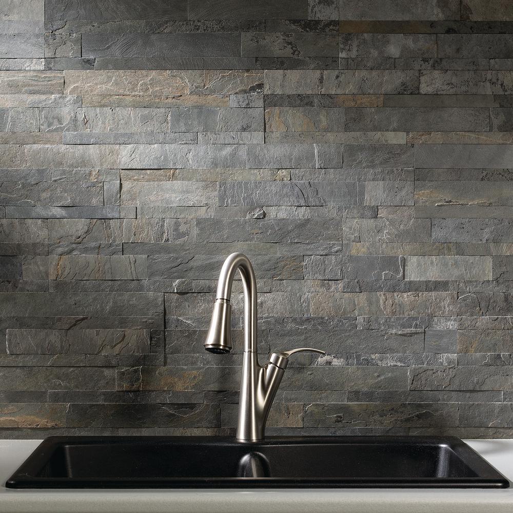 23.6 in. x 5.9 in. Iron Slate Peel and Stick Stone Decorative Tile Backsplash