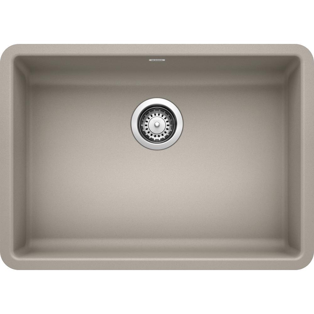 Precis Concrete Gray Granite 25 in. Single Bowl Undermount Kitchen Sink