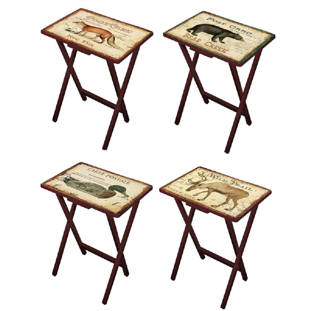 Cape Craftsman Lodge Postcards Multi Colored TV Trays With Stand (Set Of 4)