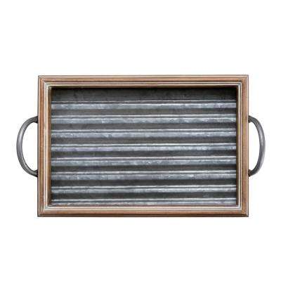 18 in. Galvanized Wood Tray