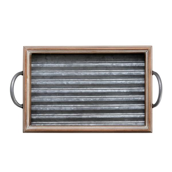 Elements 18 in. Galvanized Wood Tray 5230307