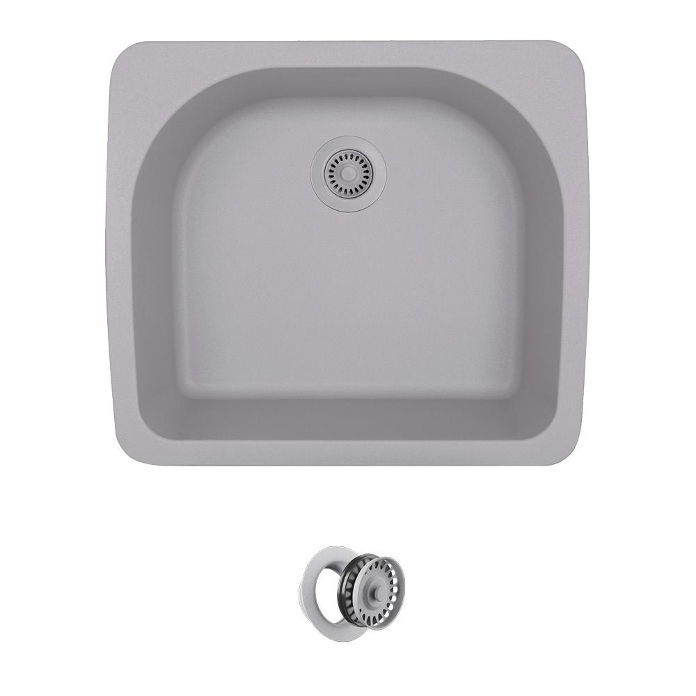 All In One Drop Granite Composite 25 Single Bowl Kitchen Sink Silver