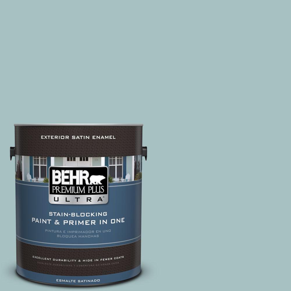 BEHR Premium Plus Ultra 1-gal. #500F-4 Swan Sea Satin Enamel Exterior Paint