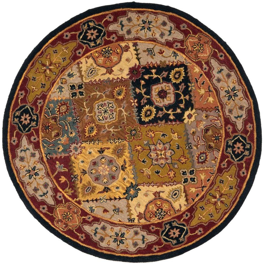 Safavieh Heritage Multi Red 8 Ft X 8 Ft Round Area Rug
