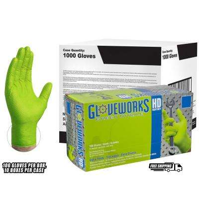 Medium Diamond Texture Green Nitrile Industrial Powder-Free Disposable Gloves (10-Pack of 100-Count)
