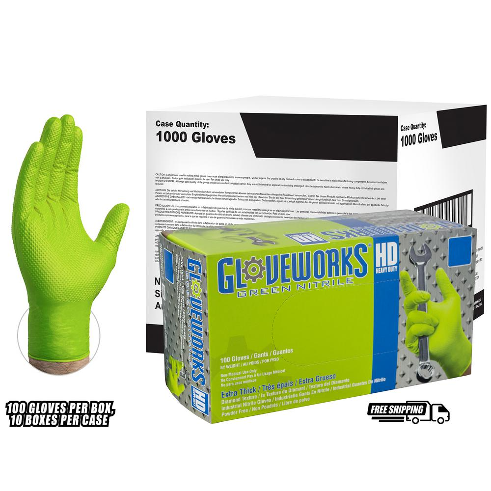 Diamond Texture Green Nitrile Industrial Latex Free Disposable Gloves (Case of