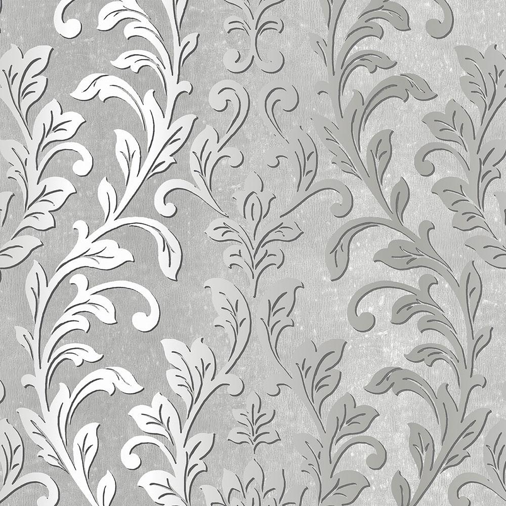 Norwall Silver Leaf Damask Wallpaper