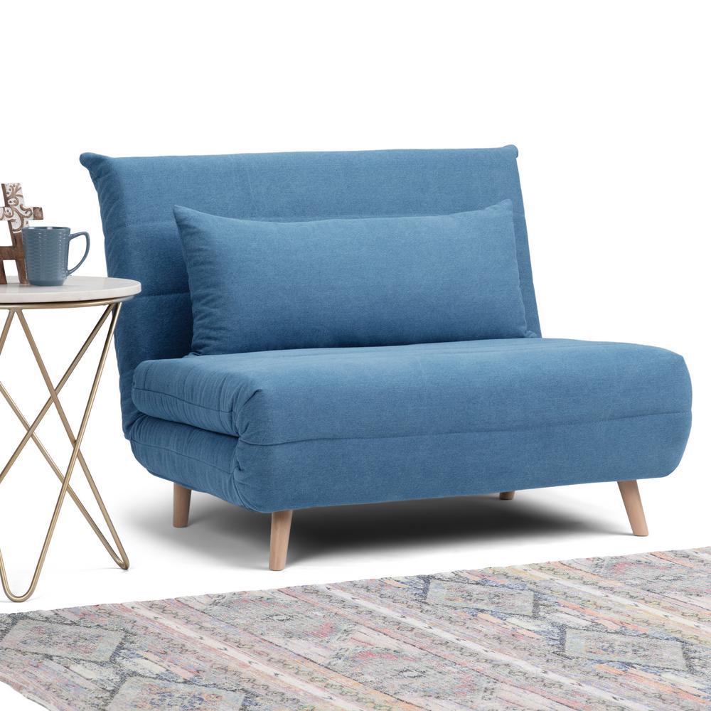 Simpli Home Asher Contemporary 42 in. Denim Blue Linen Look ...