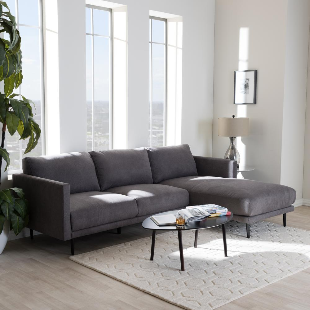Gray Fabric Upholstered Right Facing Chase Sectional