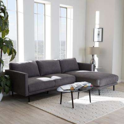 Riley 2 Piece Mid Century Gray Fabric Upholstered Right Facing Chase Sectional  Sofa
