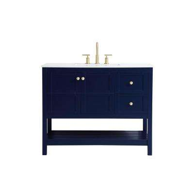 Timeless Home 42 in. W x 22 in. D x 34 in. H Single Bathroom Vanity in Blue with White Quartz with White Basin