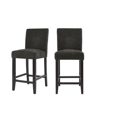 Banford Ebony Wood Upholstered Counter Stool with Back and Black Seat (Set of 2) (17.51 in. W x 40.35 in. H)