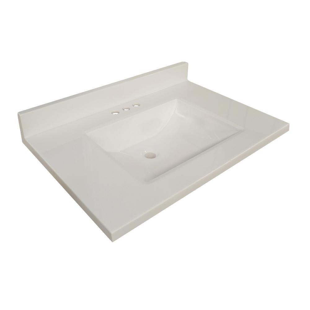 Design House 37 In W Wave Cultured Marble Vanity Top Solid White With Basin