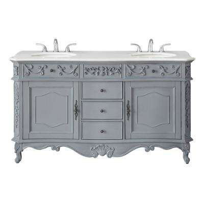 Winslow 60 in. W x 22 in. D Bath Vanity in Antique Gray with Vanity Top in White Marble with White Basins