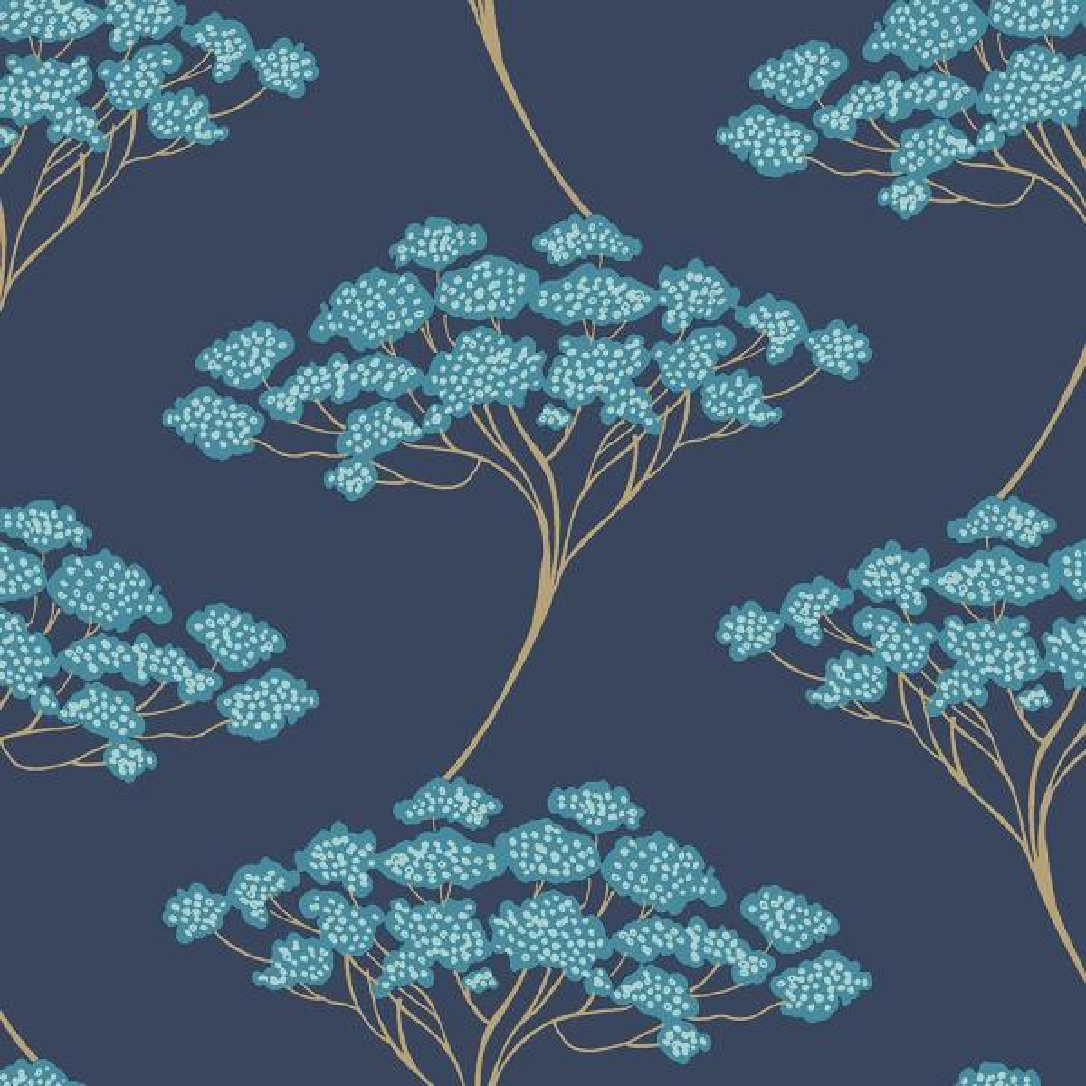 NuWallpaper 30.75 sq. ft. Blue Ficus Peel and Stick Wallpaper NUS3147