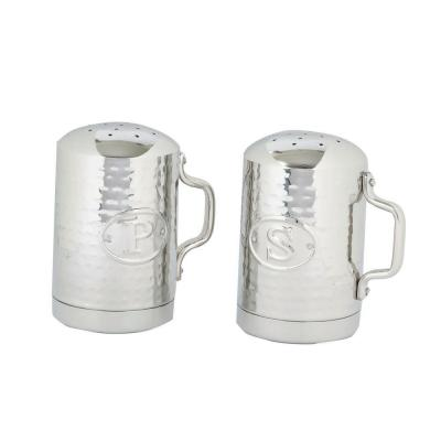 4.25 in. Hammered Stainless Steel Stovetop Salt and Pepper Set