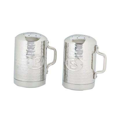 4.25 in. Stainless Steel Hammered Stovetop Salt and Pepper Set