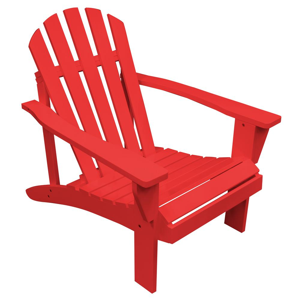 Delightful AmeriHome Tomato Red Reclining Wood Adirondack Chair With Painted 802450    The Home Depot