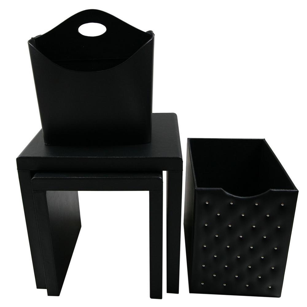 Upscale Designs Black Side Table (Set of 4)
