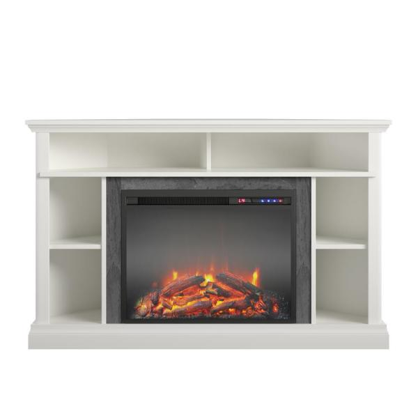 Parlor 47.625 in. Electric Corner Fireplace TV Stand in White