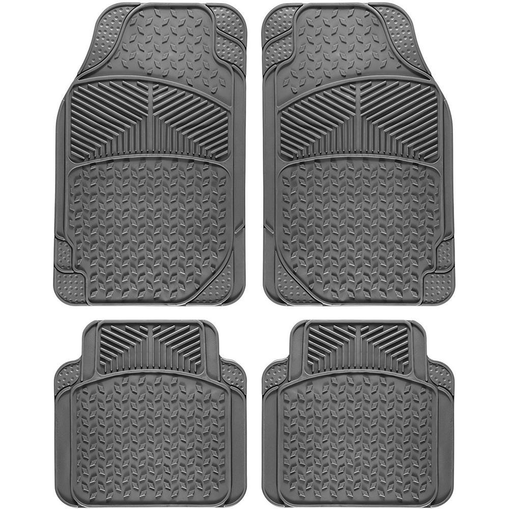 OxGord Tail Fin Style Gray 4-Piece 27 4 in  x 17 7 in  Heavy Duty Rubber  Floor Mats