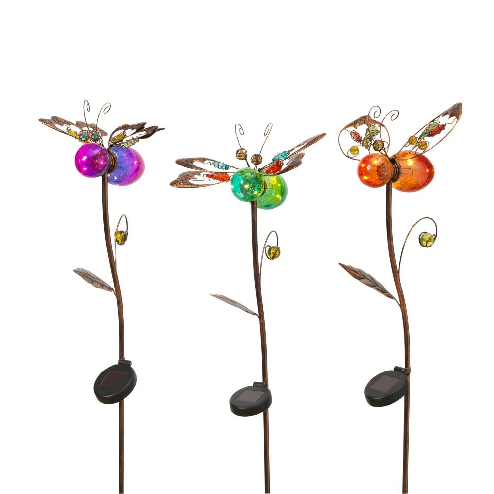 43 in. Tall Solar-Powered Gold Metal Insect Yard Stakes with Colored