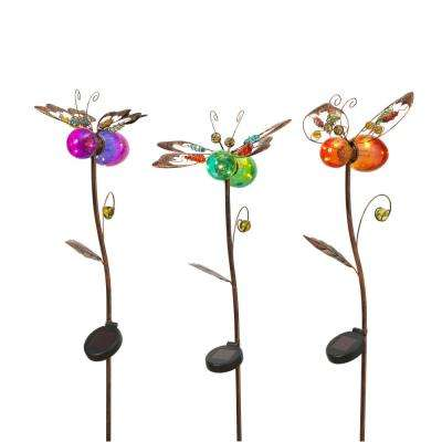 43 in. Tall Solar-Powered Gold Metal Insect Yard Stakes with Colored Glass Body (3-Set)