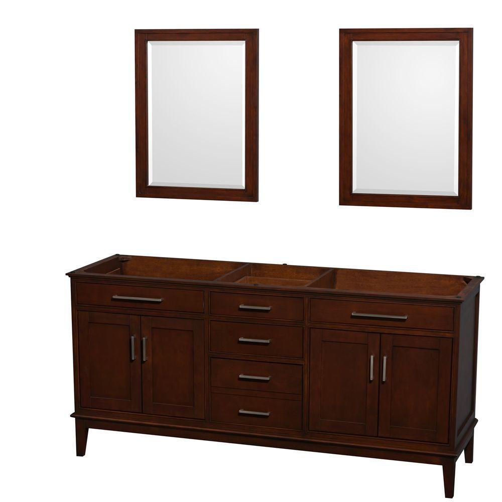 Hatton 71 in. Vanity Cabinet with Mirror in Dark Chestnut