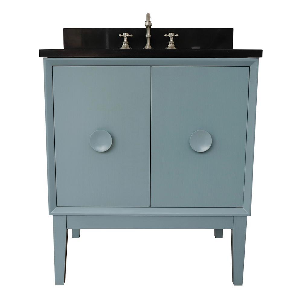 Stora 31 in. W x 22 in. D Bath Vanity in Aqua Blue with Granite Vanity Top in Black with White Oval Basin