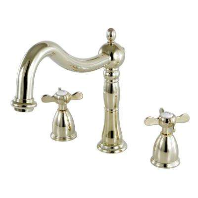 Victorian Cross 2-Handle Deck Mount Roman Tub Faucet in Polished Brass