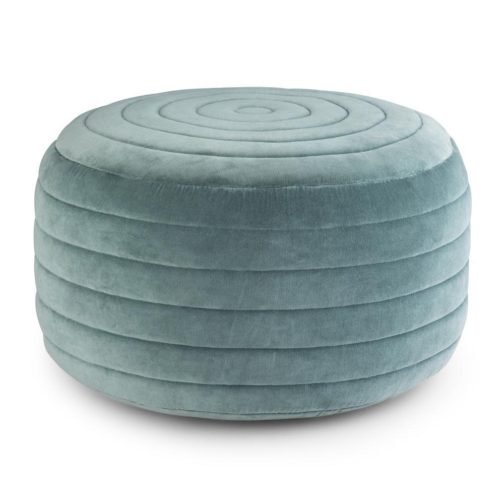 Vivienne Turquoise Velvet Contemporary Round Pouf