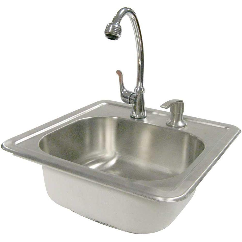 Cal Flame 15-1/2 in. Outdoor Stainless Steel Sink with Faucet and ...