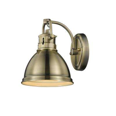 Duncan AB 1-Light Aged Brass Bath Light with Aged Brass Shade
