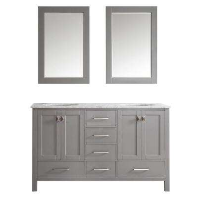 Gela 60 in. W x 22 in. D x 35 in. H Vanity in Grey with Marble Vanity Top in White with Basin and Mirror