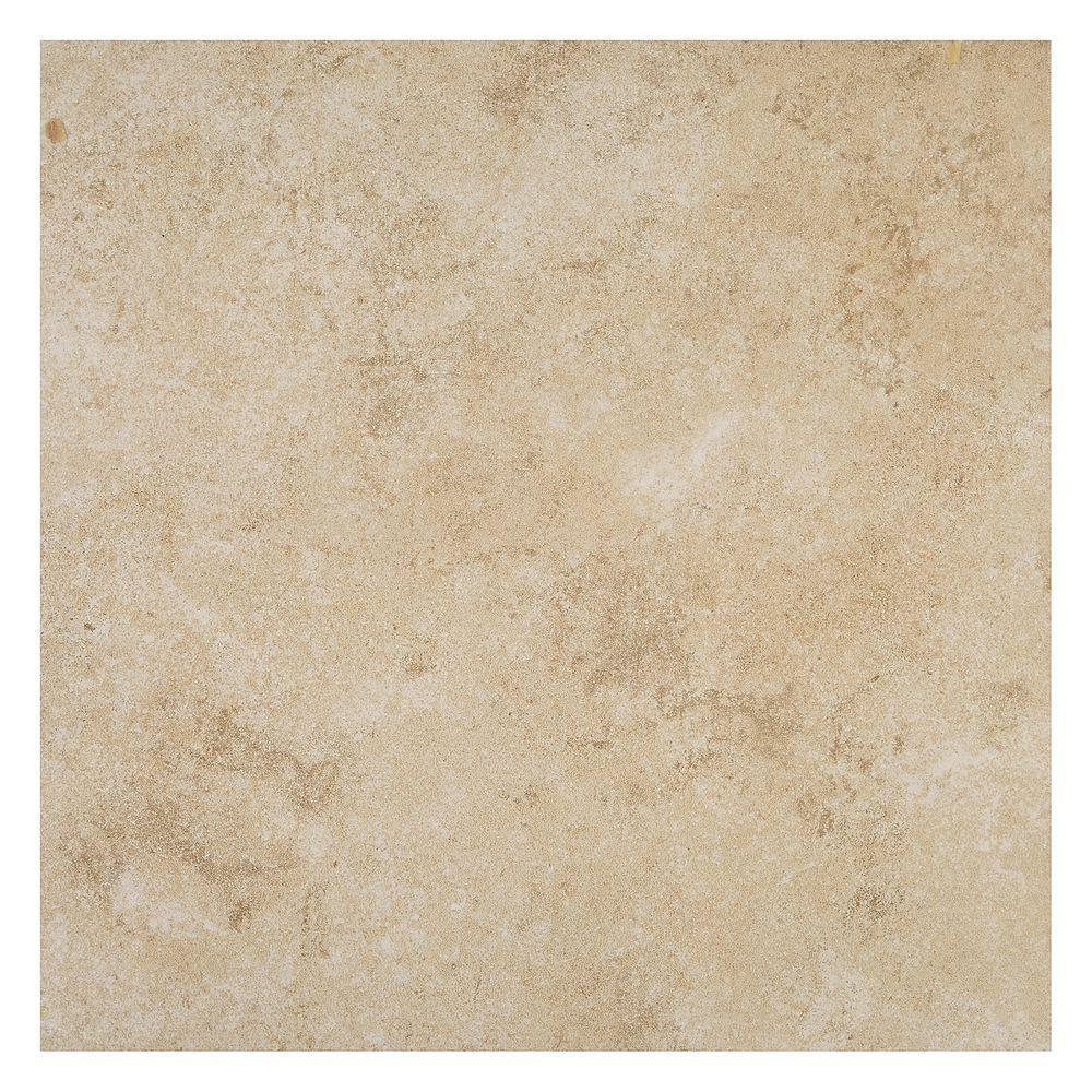 Daltile forest hills crema 18 in x 18 in porcelain floor for 13x13 floor tiles