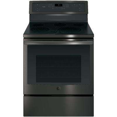 30 in. 5.3 cu. ft. Electric Range with Self-Cleaning Convection Oven in Black Stainless