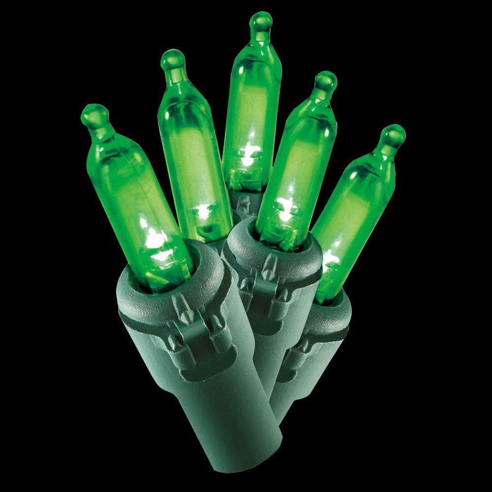 100-Light LED Green Mini ... - Green - Christmas String Lights - Christmas Lights - The Home Depot