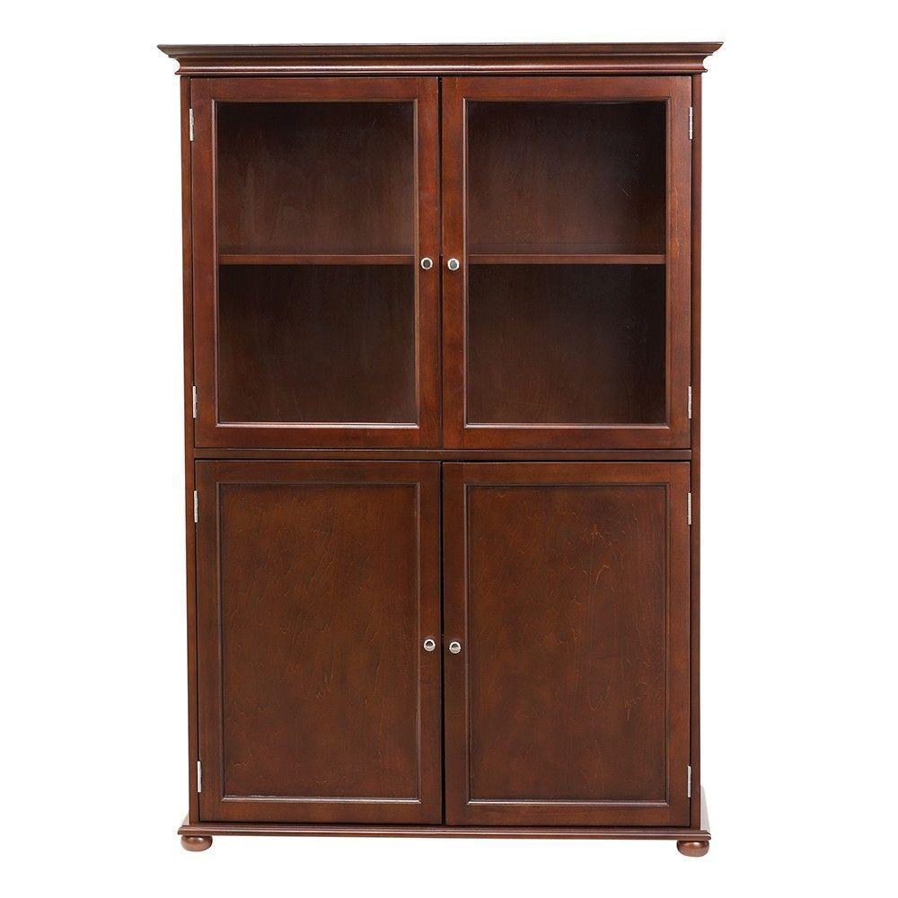 Hampton Harbor 36 in. W x 14 in. D x 52-1/2 in. H Linen Storage Cabinet in Sequoia