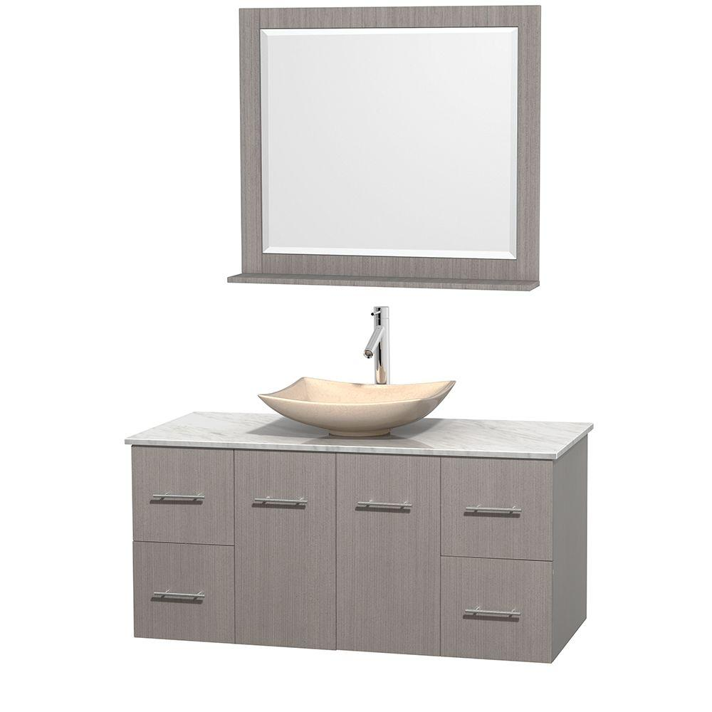 Centra 48 in. Vanity in Gray Oak with Marble Vanity Top
