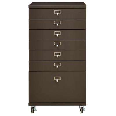Becker 7-Drawer Gunmetal Metal Cart