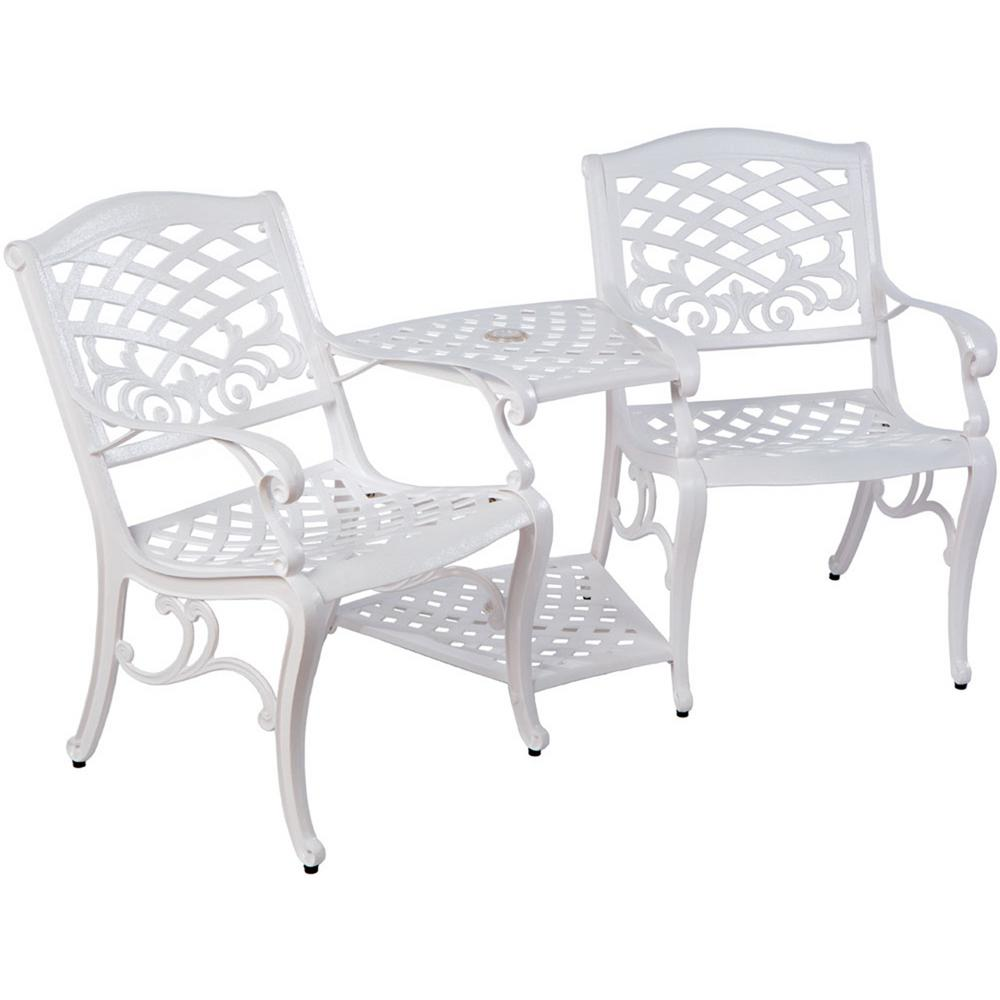 White Tete A Tete 28 In. Cast Aluminum Bench With Umbrella Hole