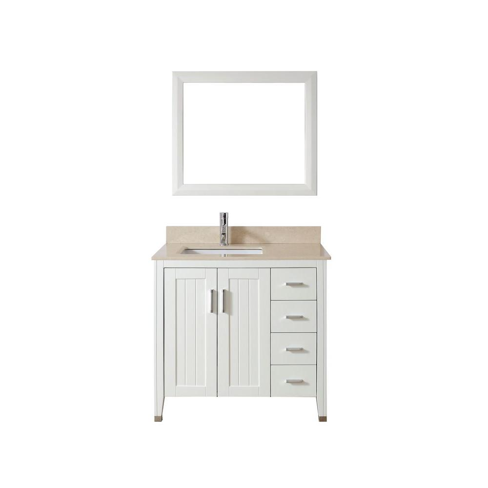 Studio Bathe Jackie 36 in. Vanity in White with Marble Vanity Top in Beige and Mirror