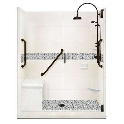 Del Mar Freedom Luxe Hinged 42 in. x 60 in. x 80 in. Center Drain Alcove Shower Kit in Natural Buff and BK Pipe Hardware