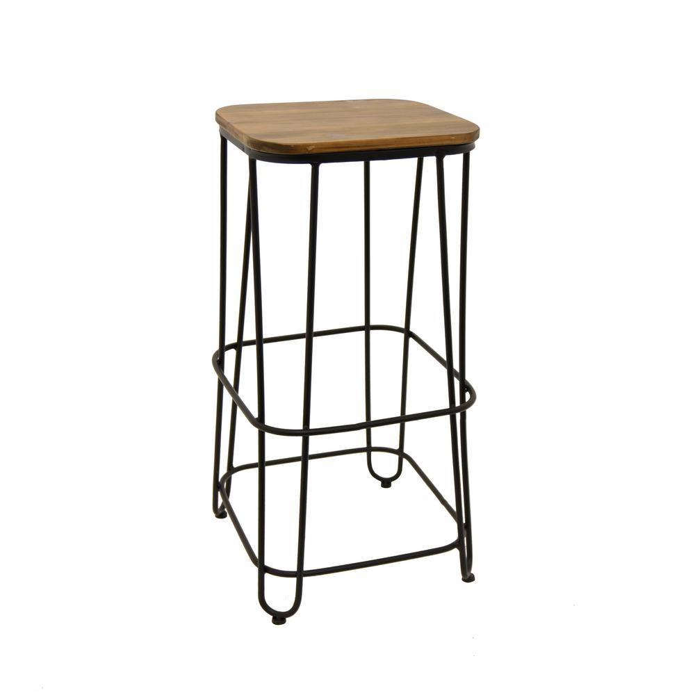 Three Hands In Brown Metal Wood Bar Stool 89775 The Home Depot