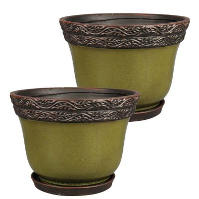 Reserva 7.87 in. x 6.46 in. Jade Ceramic Pot (2-Pack)